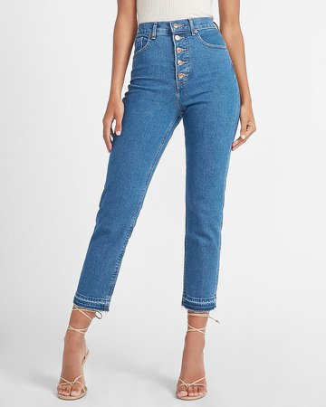Super High Waisted Button Fly Mom Jeans