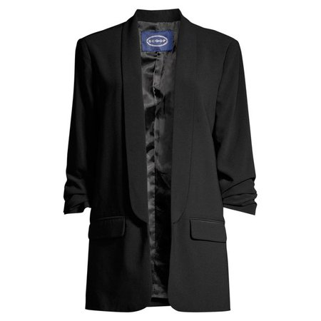black Scoop - Scoop Women's Boyfriend Blazer with Scrunch Sleeves - Walmart.com - Walmart.com