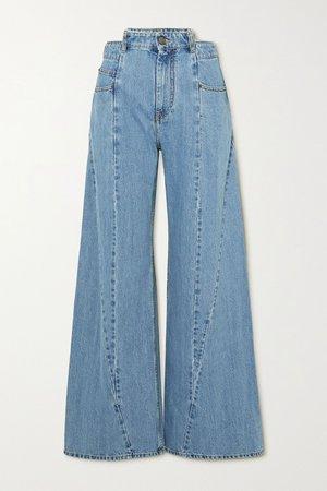 Blue Décortiqué paneled high-rise wide-leg jeans | Maison Margiela | NET-A-PORTER