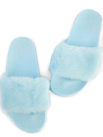 Blue Fur Slippers