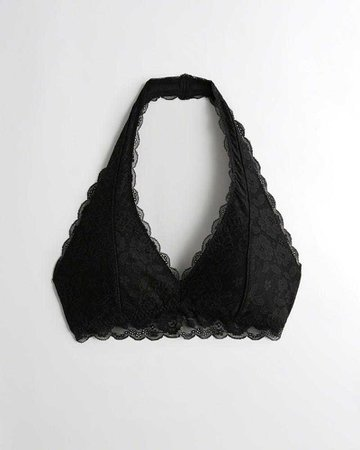 Gilly Hicks Lace Halter Bralette With Removable Pads   Gilly Hicks Bralettes   HollisterCo.com