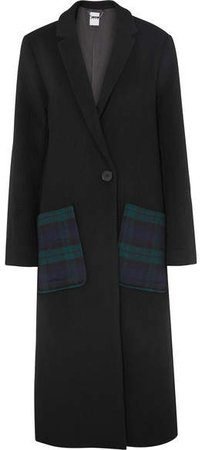Kith - Eva Tartan-paneled Wool-blend Coat - Black