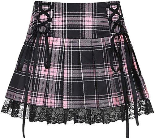 Women Lace Patchwork Mini Pleated Skirts High Waist Lace Up Ruffle Short Skirts Harajuku Goth Skirt Pink Light at Amazon Women's Clothing store