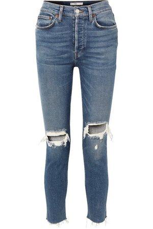 RE/DONE | Originals High-Rise Ankle Crop Skinny Jeans in Distressed-Optik | NET-A-PORTER.COM
