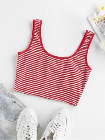 [39% OFF] [POPULAR] 2020 ZAFUL Ribbed Striped Crop Tank Top In RED | ZAFUL