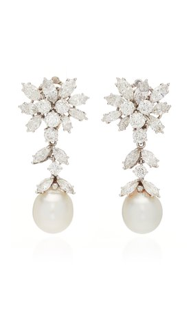 Simon Teakle Cultured Pearl & Diamond Earrings