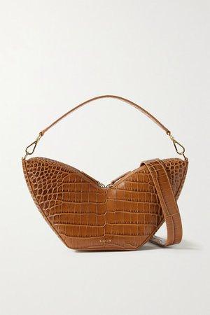Tulip Croc-effect Leather Shoulder Bag - Brown