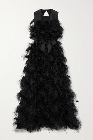 Black Mystique feather-trimmed cutout silk-organza gown   Huishan Zhang   NET-A-PORTER