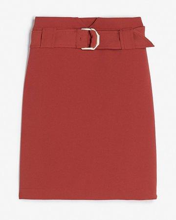 High Waisted Belted Notch Front Mini Skirt | Express