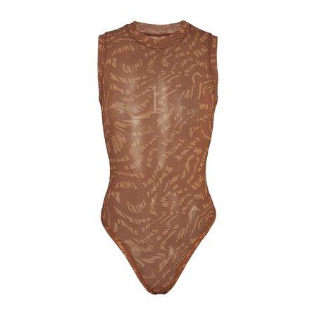 Summer Mesh Mock Neck Bodysuit - Latte Swirl   SKIMS
