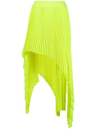 Ssheena asymmetrical pleated skirt yellow SGLENDATS21005F - Farfetch