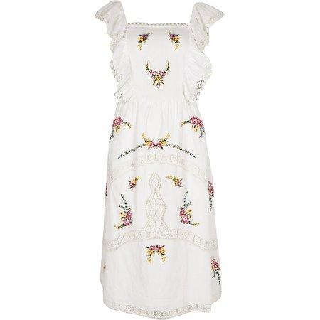 White embroidered sleeveless midi dress   River Island