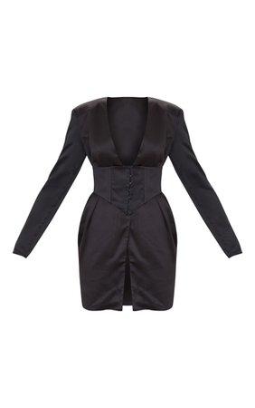 Black Satin Corset Panel Bodycon Dress   PrettyLittleThing USA