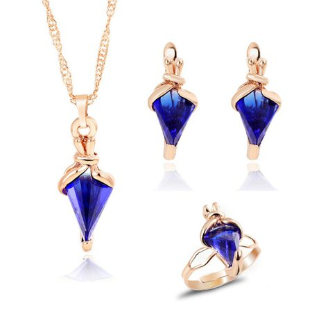 MINHIN fashion gold color jewelry set Clover style necklace and earrings and ring for wedding accessories Royal Blue jewelry set-in Jewelry & Accessories from Jewelry & Accessories on Aliexpress.com | Alibaba Group