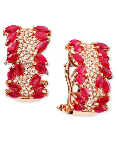 EFFY Collection Rosa by EFFY® Ruby (3-5/8 ct. t.w.) and Diamond (1/2 ct. t.w.) in 14k Rose Gold & Reviews - Earrings - Jewelry & Watches - Macy's