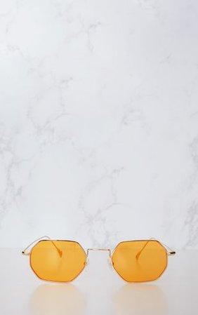 Orange Hexagon Retro Sunglasses | PrettyLittleThing