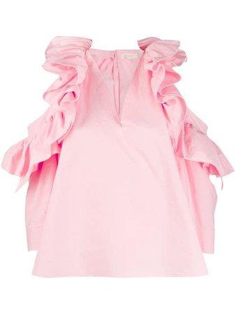 Delpozo frill trim poplin blouse $1,508 - Buy Online - Mobile Friendly, Fast Delivery, Price