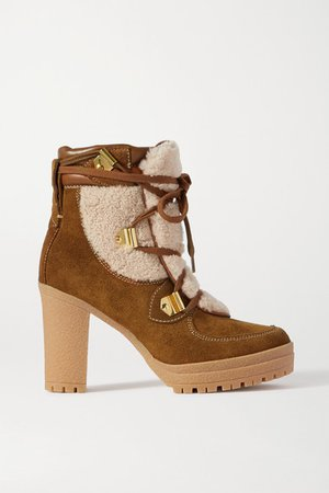Leather-trimmed Suede And Shearling Ankle Boots - Tan