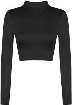 WearAll Harmony Turtle Neck Crop Top | Turtle neck crop top, Black long sleeve crop top, Turtleneck long sleeve top