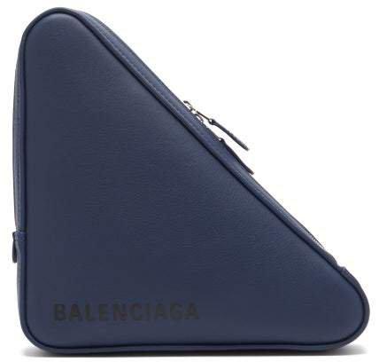 Triangle Pochette M Leather Clutch - Womens - Blue