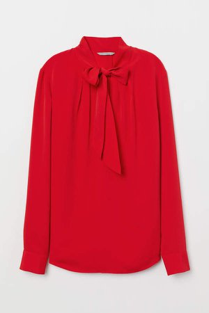 Blouse with Tie Collar - Red
