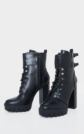 Black Platform Ankle Buckle Hiker Boot   PrettyLittleThing