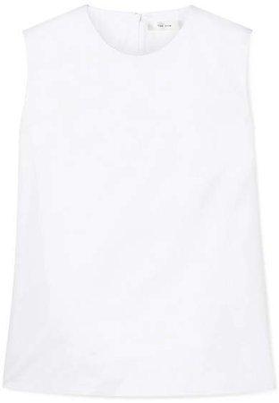 Shelly Stretch-cotton Poplin Tank - White