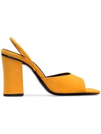 Dorateymur yellow 90 suede high heeled sandals