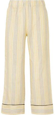 Bergamot Striped Silk Straight-leg Pants - Pastel yellow
