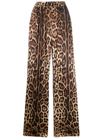 Shop Dolce & Gabbana leopard-print straight trousers with Express Delivery - FARFETCH