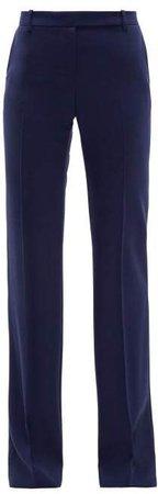 Longline Flared Virgin Wool Twill Trousers - Womens - Navy