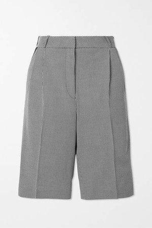 Houndstooth Cotton Shorts - Black