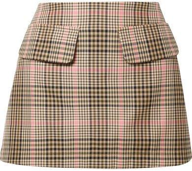 Net Sustain Short And Sweet Checked Woven Mini Skirt - Sand
