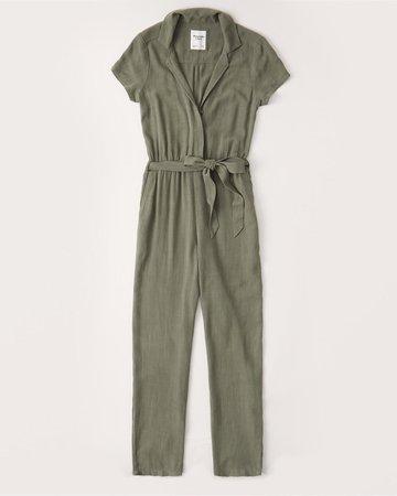Short-Sleeve Collared Jumpsuit