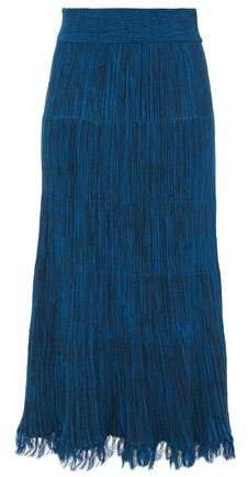 Frayed Melange Ribbed Cotton Midi Skirt