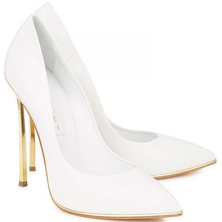 Casadei gold blade heel white pumps | botas y zapatos | White pumps, Fashion, Shoes