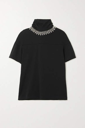 Embellished Cotton-jersey T-shirt - Black