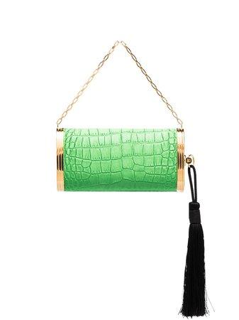 Bienen Davis Mock Croc Embossed Leather Clutch Bag 01BD01SP200800SATIN Green | Farfetch