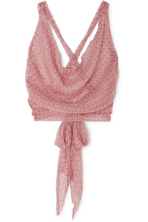 Cloe Cassandro | Santi cropped printed silk-chiffon wrap top | NET-A-PORTER.COM