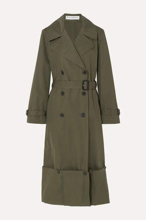 Button-detailed Cotton-twill Trench Coat - Green