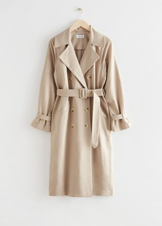 Relaxed Double Breasted Trench Coat - Beige - Trenchcoats - & Other Stories