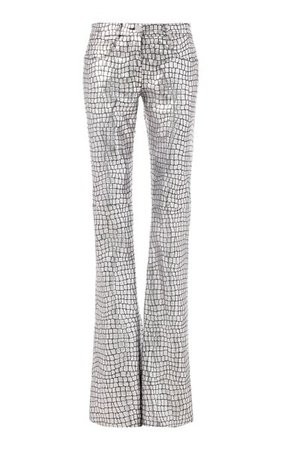 Metallic Foiled Leather Flared Pants By Brandon Maxwell | Moda Operandi