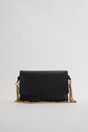 LEATHER CLUTCH BAG WITH CHAINS | ZARA India