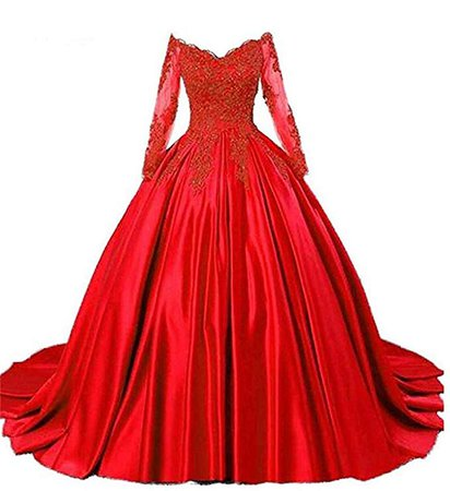 DKBridal Women's Lace Appliques Puffy Sweet 16 Ball Gowns Long Sheer Sleeves Quinceanera Dresses at Amazon Women's Clothing store