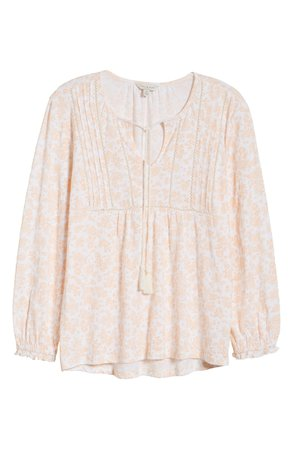 Lucky Brand Faded Floral Tie Neck Peasant Top peach