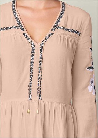 Embroidered Peasant Blouse in Blush Multi | VENUS