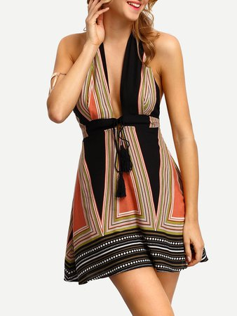 Halter Neck Plunge V-neck Tassel Tie Dress