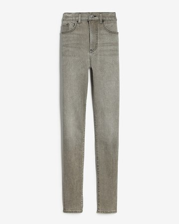 High Waisted Gray Faded Skinny Jeans | Express