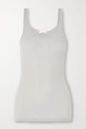 The Daily Ribbed Cotton-jersey Tank - Gray