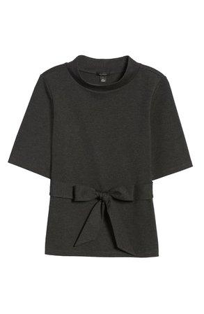 Halogen® Mock Neck Tie Waist Top black